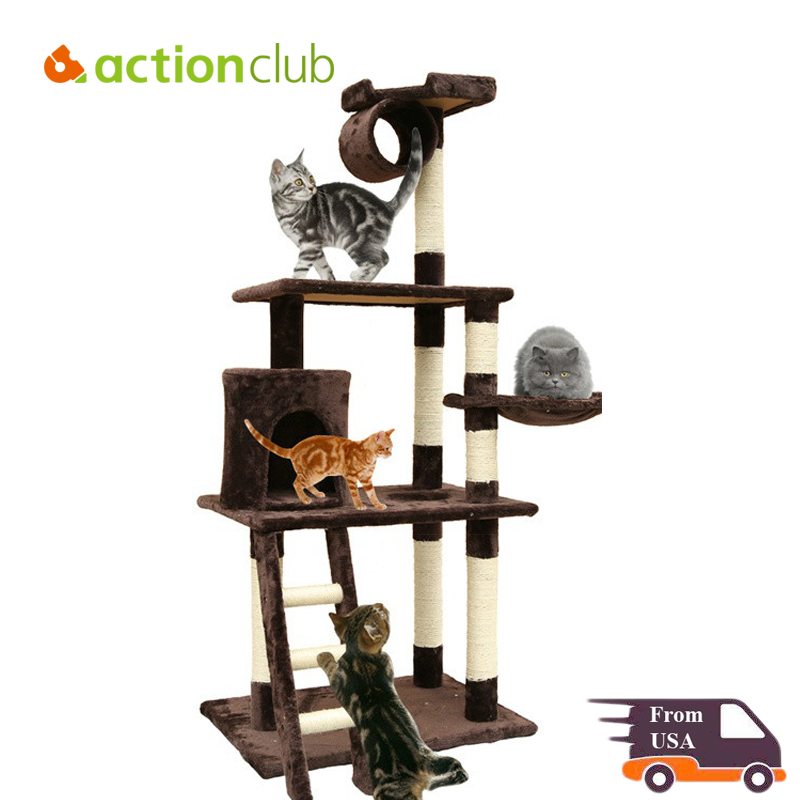 Actionclub USA Domestic Delivery Cat Climbing Tree 4-Tier Cat Tree Pet Play Scratching Post 63-Inch Height with Hammock(China (Mainland))