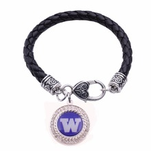 Washington Huskies New York Giants Tigers Toronto Twins Tampa Bay Buccaneers  Football Enamel  Leather bracelet jewelry