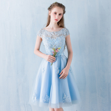 Brids  maid Dress 2017 new spring and summer blue word shoulder dress beauty dress show thin short fashion lace female dress