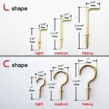 25pc Golden Picture Frame Lamp Light Cabinet Plant Furniture Curtain Net Wire Eye Bolt Eyebolt Screw in Hanger L C Cup Hook(China)