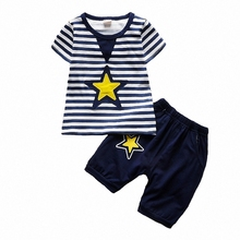 BibiCola 2017 Baby Summer Boys Clothing Sets Infant Causal Star Striped Tops+Shorts Boys 2PCS Sport Suits Toddler Boys Tracksuit(China)