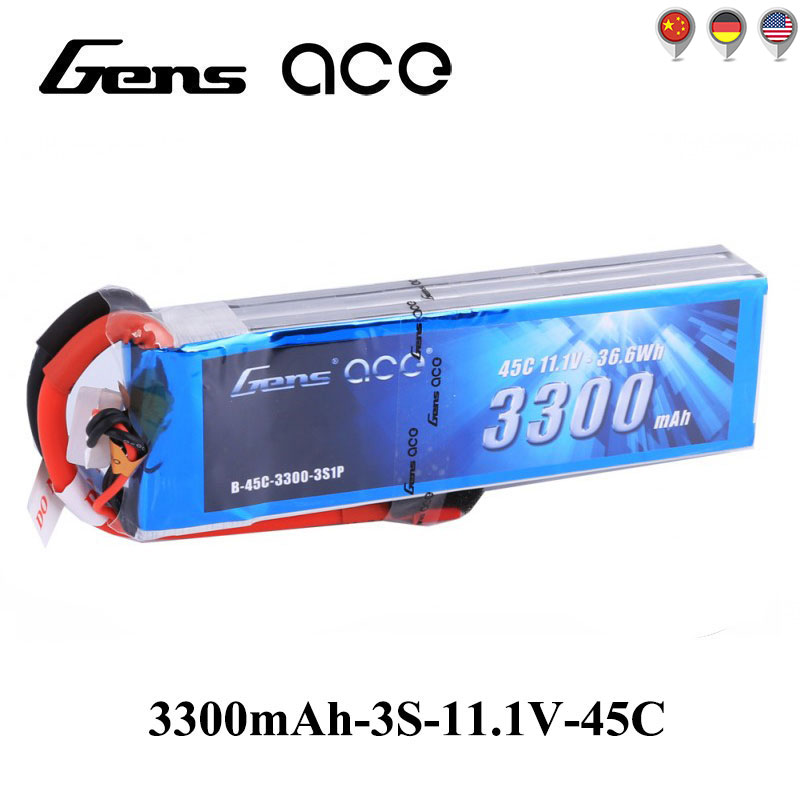 Gens ace Lipo Battery 11.1V 3300mAh Lipo 3S Battery Pack 45C RC Battery for Glider 3D Plane 400mm Vortex X-Sled Helicopter<br>