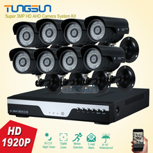 Super 3MP HD 8 Channel 1920P Surveillance System Metal black infrared Bullet Waterproof Outdoor 8CH DVR Security Camera kit