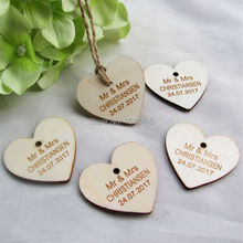 100 pcs Personalized custom Engraved wedding name and date Love Heart wooden Wedding Gift Tags+Jute String 40mm*37mm