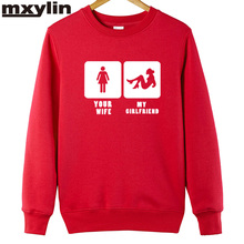 2017 man's designer new Men Sweatshirt your wife,my girl friend printed new fashion cotton casual Hoodies XS-XXL(China)