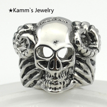 Sheep Skull Cow Bull ring Silver Stanless Steel Rings goth Punk sale wholesale kpop korean alliance KR165 US size(China)