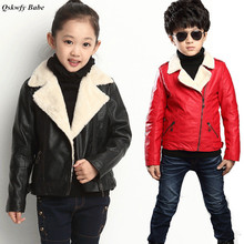 2017 Boys Girls Casual Motorcycle Jackets Boy Plus Cashmere Jacket Children Thickening Warm Turn-down Collar Outerwear & Jackets(China)