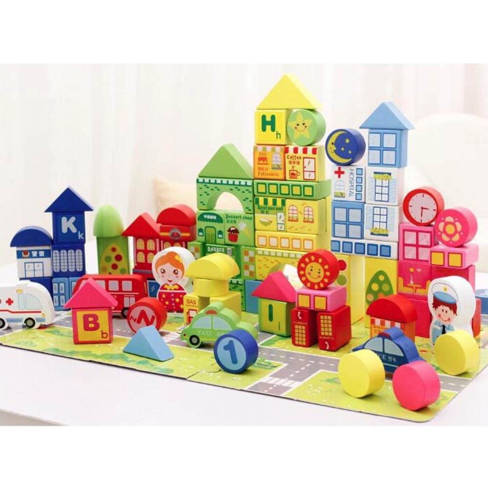 100pcs City Traffic Children Wooden Blocks Colorful Number Geometry Shape Cognitive DIY Building Blocks <br><br>Aliexpress