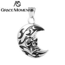 New Arrival Vintage Style Men's Silver Pendant The Moon & Skull Necklace Pendant 316L Stainless Steel Titanium Pendant Jewelry