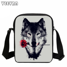 VEEVANV 3D Wolf Printing Messenger Bag Casual Moon Light Rose Pirate Wolf Shoulder Bag for Women Cool Animal Crossbody Bags Kids