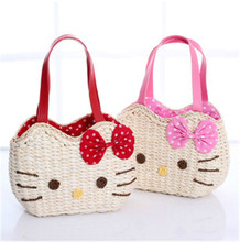 Hot Style Hello Kitty Corn Husk Bag/6 Colors Cartoon Straw Beach Bag/Women Fashion Brand Bow Handbag/Woven Shopping Bags