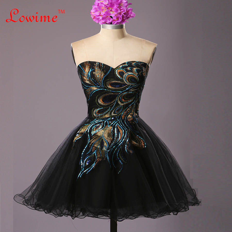 Black peacock dress prom