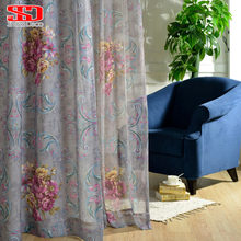 Tulle Window Sheer Fabric For Curtain Cotton European Floral Blackout Blinds Drapes Cortinas Luxury Curtains For Living Bed Room