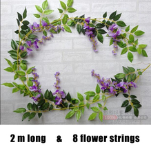 2M longer artificial wisteria flowers wedding arch decorative flowers home flower vine fake rattan marrige party supplies 5PCS