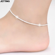 JETTING Trendy Silver Plated Hemp Rope Chain Bracelet Anklet Women Fashion Jewelry 21CM Silver Foot Jewelry For Women