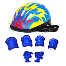 7pcs Bike Helmet casco ciclismo Elbow Wrist Knee Pads and Helmet Sport Safety Protective Gear for Children Cycling Riding Helmet