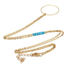 Women Gold Necklace with Rhinestone Simple Charm  Turquoise Beads ee