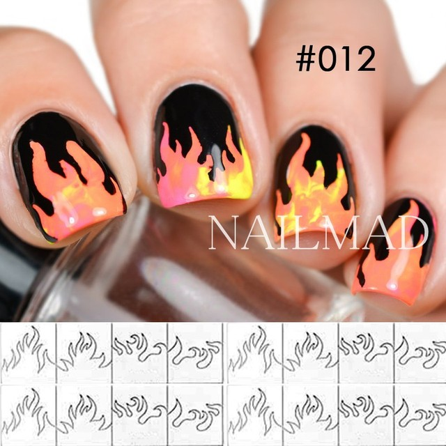1 sheet Paint Drop Nail Vinyls Starburst Vinyls Hollow Nail Art Sticker Fire Nail Stencil Aztec Chevron Nail Art Vinyls