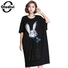Oladivi Plus Size Women Clothing 2017 New Fashion Women Metal Sheetst Rabbit Dress Sexy Ladies Casual Dresses Female Tunics Tops(China)