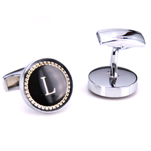 French fashion men shirts cufflinks circular letters L golden lace enamel cufflink silver copper material quality shirt cuff lin(China)