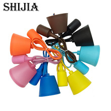 E27 Socket Chandelier Lighting Point Hanging Line Colorful Silicone Rubber Ceiling Hanging Lamp Base Holder