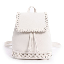 2017 Girls Mini Backpack Women Leisure Student School Bags PU Leather Rucksack Candy Color Weave Tote Soft Small Back Pack P614