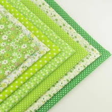 Booksew 100% Cotton Fabric 7pcs/lot Green Theme Lovely Floral and Dots Style Quilting Cloth Patchwork Crafts Sewing Doll(Китай)