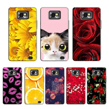 Beauty Rose Flower Case for Samsung Galaxy S2 gt i9100 Protector Cover Painting Girl for Samsung Galaxy S2 Plus i9105 case cover(China)