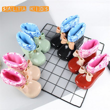 Waterproof Child Rubber Boots Jelly Soft Infant Shoe Girl Boots Baby Kids Rain Boots With Bow Girls Children Rain Shoeswarm BO40
