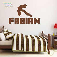 NEW Minecraft Custom Kids Name Removable Vinyl Wall Sticker Decor Nursery Boys Girls Bedroom Wall Stickers Home Decorative