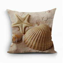 European Retro Style Marine Biology Cushion Cover Sea Conch Shell Starfish Home Pillow Case Linen Cotton Pillows Covers 45X45cm