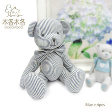 Luxury blue striped pattern design teddy bear,100% hand-made 35cm high quality kid toys