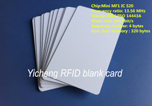 1000pcs NFC Mini MF1 S20  Blank card Thin pvc Card RFID card  13.56MHz ISO14443A IC Smart  proximity Card  Waterproof