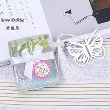 Silver Butterfly Bookmarks Metal With Mini Greeting Cards Tassels Kawaii Stationery Pendant Gifts Wedding Favors 50pcs(China)