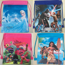 1 pcs Cute Cartoon Cloth Bag Troll Star Wars Moana Theme PE Printed 3D Receive Shopping Bag Happy Birthday Party Kid Gift Toy