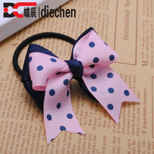 2pcs/lot polka dot pink grosgrain ribbon bows toddler baby girls rubber bands hair elastics hair ties accessories for children