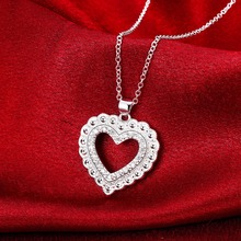 2017 wedding love heart silver plated zircon party birthday party date gift jewelry pendant necklace girl free shipping 860