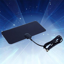 Digital Indoor TV Antenna Receiver High Gain HDTV DTV Box Ready HD VHF UHF Black Flat Design Support 1080i 1080p 720p