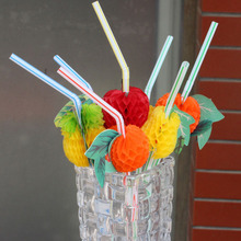 50Pcs/Set Fashion Assorted Multicolor Plastic Fruit Cocktail Drinking Straw BBQ Hawaiian Party Theme Decoration P17