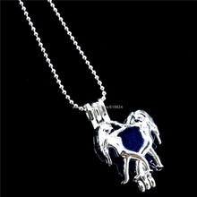 R-L186 Trendy Bright Silver Gemini Locket Necklace Beads Cage Aromatherapy Essential Oil Diffuser Pendant Necklace Women