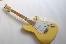 Free shipping  Vintage yellow cream Yngwie Malmsteen Guitar, Big Head ST Electric Guitar