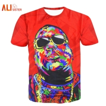 Biggie Smalls T SHIRT Red Tie Dye Graphic T-shirt Fashion Women/men's 3d Tees Summer Hip Hop Tops Biggie Shades Clothing(China)