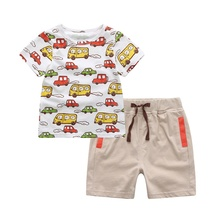 2 pcs Baby Boy Clothing Set Short-Sleeved Cartoon Car Pattern Tops + Shorts Children's Outfits