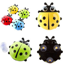 2017 Brand New Household Creative Supplies Bathroom Sets Lovely Ladybug Toothbrush Wall Suction Sucker Toothbrush Holder XH05018