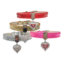 Bling Pet Diamante Dog Collars Soft Pu Leather Necklace for Small Medium Large Dogs Pet Accessories Gold Silver Red Pink 29S3(China)