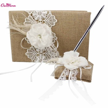 Jute Burlap Wedding Guest Book and Pen Set with Floral Lace Ribbon Pen Stand Holder Guest Signature Book for Wedding Decoration