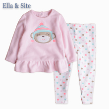 Retail Spring And Autumn Children Clothing Sets Kids Girls Clothes  2pcs/set Pink Coat + Cotton Pants 1-5Y Girls Set