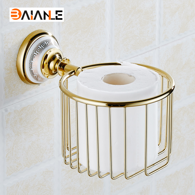 European Solid Brass Gold Paper Basket Paper Holder Vintage Polished Chrome ceramics Paper Box Wall Mount Bathroom Accessories<br>