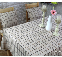 Tablecloth checks fabric Northern Europe dining beige Multisize cotton table cover american lattice natural plaid linen