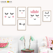 RCOLOR MOON Canvas Painting Girls Smiling Face Nordic Poster Wall Pictures For Bedding Room Cute Abstract Home Decoration(China)